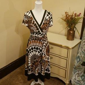 V Neck Open Back Midi Length Dress Size 14